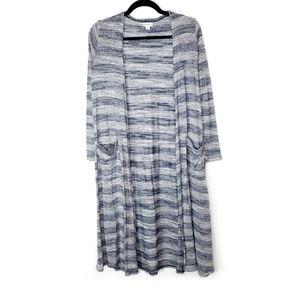 LuLaRoe Blue Gray Striped Long Sarah Cardigan
